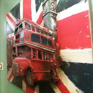 zoom tableau art métal 3D bus Londres