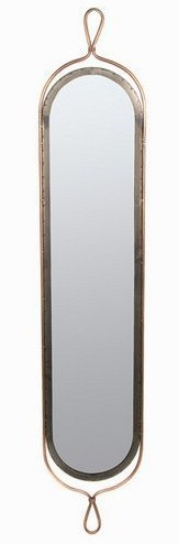 Grand miroir m tal d co vertical fintions cuivre argent for Grand miroir metal