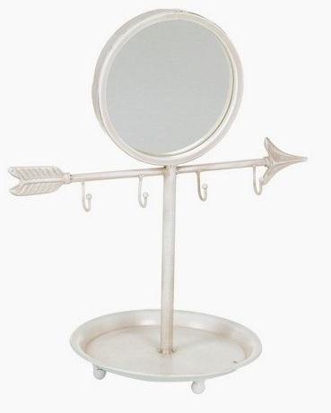 Petit miroir blanc m tal de table avec accroche bijoux for Petit miroir blanc